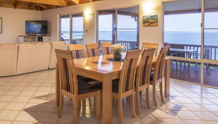 Dining table ocean views